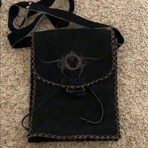 Handmade suede leather purse
